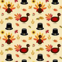 thanksgiving kalkoen, bladeren en pelgrimshoedpatroon
