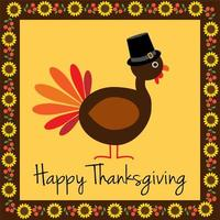 happy thanksgiving kalkoen met zonnebloem grens