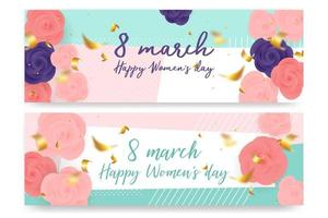 vrouwendag rozen op geometrische vorm banner set