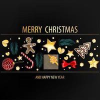 donkere ansichtkaart met kerstelementen
