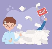 beklemtoonde werknemer met stapels papieren