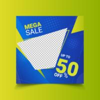 mega-verkoopsjabloon voor sociale media in blauw en groen vector