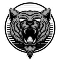monochroom tijger hoofd embleem vector