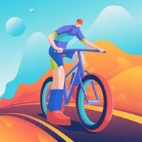 ruiter fietsen in berglandschap