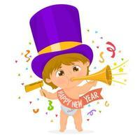 kleine jongen viert de komst van het nieuwe jaar