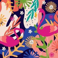 tropische bloemen en bladeren poster vector