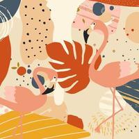 tropische bloemen en bladeren poster met flamingo's vector