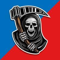 schedel van grim reaper met de sikkel vector