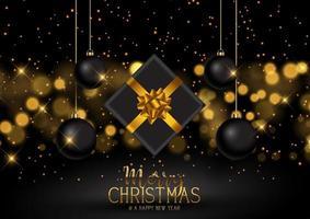kerstcadeau en kerstballen achtergrond vector