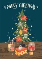kerstmis en gelukkig nieuwjaar wenskaart