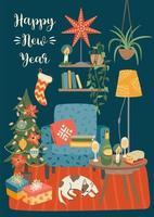 kerstmis en gelukkig nieuwjaarsscène