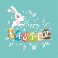 konijn en gelukkige pasen-tekst op versierde eieren