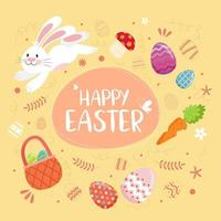 gelukkige pasen-tekst met konijntje, eieren en decoratieve elementen