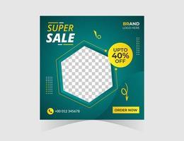 super verkoop zeshoek sociale media post ontwerpsjabloon vector