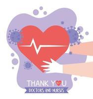 groet en dankbaarheidssamenstelling voor gezondheidswerkers vector