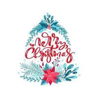 vrolijk kerstfeest met florale elementen in boomvorm vector