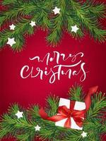 kerst wenskaart met takken, cadeau en sterren