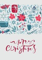 vrolijk kerstfeest wenskaart ontwerp met florale decoratie