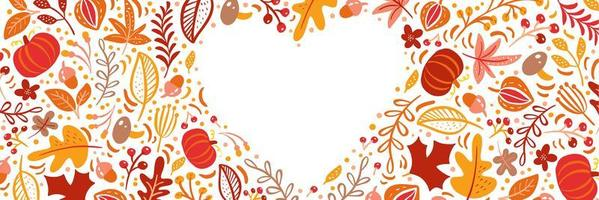 herfstbladeren, fruit, bessen en pompoenen hart grenskader