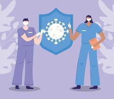 verpleegkundigen tijdens de uitbraak van het coronavirus