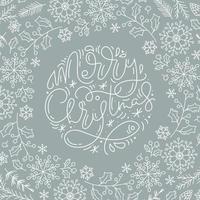 vrolijke kerstkalligrafie en lijnstijl winterelementen