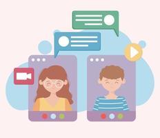online vergadering en videogesprek concept