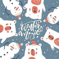 kerst wenskaart met sneeuwpop en ijsbeer vector