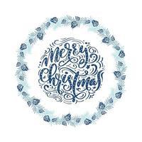 blauwe Scandinavische winterkrans met kerstuitdrukking