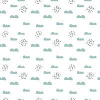 Scandinavisch naadloos patroon met wolken en regen vector