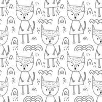 naadloze hand getrokken lijnstijl vos en regenbogen patroon vector