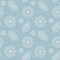 kerstbladeren, sneeuwvlokken monoline naadloos patroon