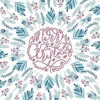 vrolijke kerst monoline kalligrafie en bloemenelementen vector