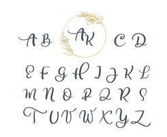 handgeschreven kalligrafie monogram alfabet