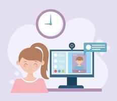 jonge vrouw op een onlinevergadering vector