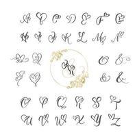 handgeschreven hart kalligrafie monogram alfabet vector
