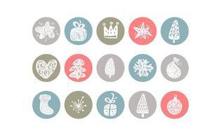 pastel hoogtepunt kerst element icoon collectie