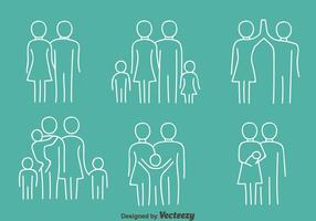 Happy Family Line Icons Vectors