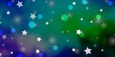 blauw en groen patroon met cirkels en sterren.