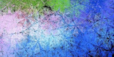 blauw, roze en groen patroon met bollen.