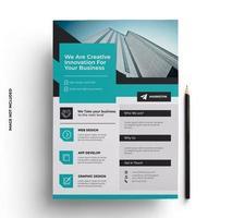 blauwgroen en grijs plat modern zakelijk flyer-sjabloon vector