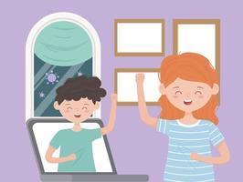 jongeren aan een videogesprek via laptop