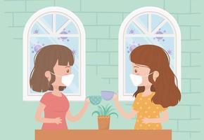 jonge vrouwen die gezichtsmaskers binnenshuis dragen