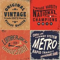 set vintage design prints voor t-shirts vector