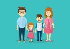 Familia Cartoon Gratis Vector