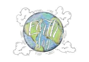 Illustratie van de waterverf Wereld met Earth Day Van letters Vector
