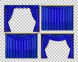 set van verschillende blauwe gordijnontwerpen