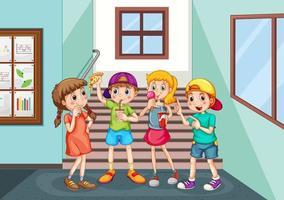 gelukkige kinderen eten in de gang van de school
