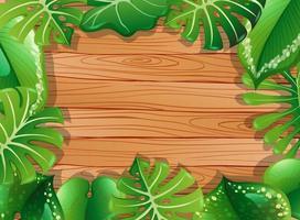 bovenaanzicht van lege houten muur met bladeren frame