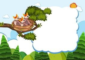 vogel en kuikens sjabloon voor spandoek