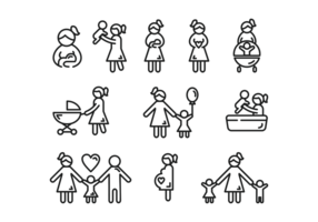 Moederschap Icons Vector